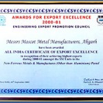 Certificate For Export Excellance 2000-2001
